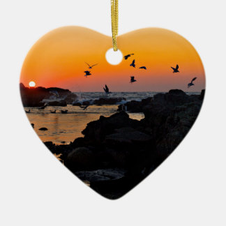 Tropical Paradise Water Beach Sunset Palm Destiny Ceramic Heart Decoration