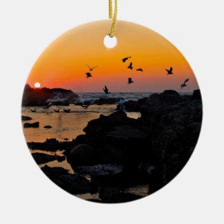 Tropical Paradise Water Beach Sunset Palm Destiny Round Ceramic Decoration
