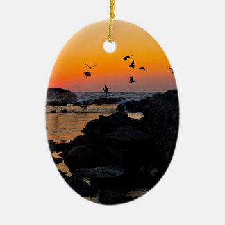 Tropical Paradise Water Beach Sunset Palm Destiny Ceramic Oval Decoration
