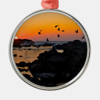 Tropical Paradise Water Beach Sunset Palm Destiny Silver-Colored Round Decoration