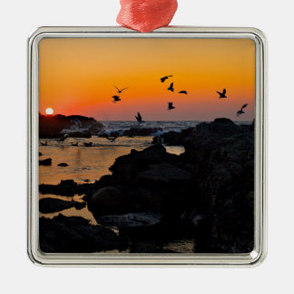 Tropical Paradise Water Beach Sunset Palm Destiny Silver-Colored Square Decoration