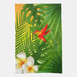 Tropical Paradise with a Hummingbird Tea Towel