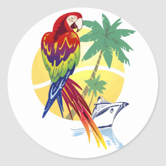 Tropical Paradise with Macaw and Cruise Ship Classic Round Sticker