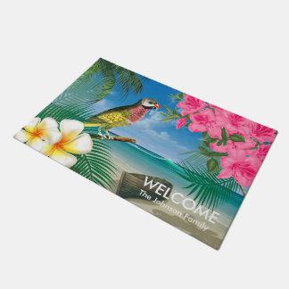 Tropical Parakeet Birds at the Beach Doormat