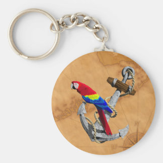 Tropical Parrot And Anchor Basic Round Button Key Ring