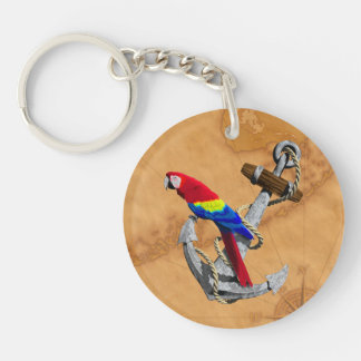 Tropical Parrot And Anchor Key Chain