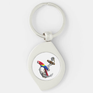 Tropical Parrot And Anchor Silver-Colored Swirl Key Ring