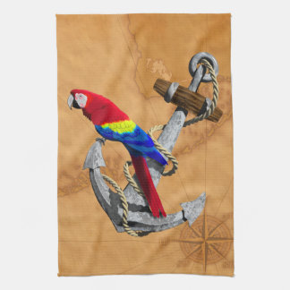 Tropical Parrot And Anchor Tea Towel