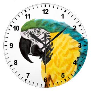 Tropical Parrot Bird Large Clock