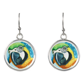 Tropical Parrot Earrings Colorful Macaw Bird Gift