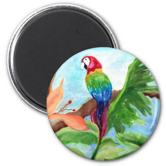 Tropical Parrot-Ice 6 Cm Round Magnet