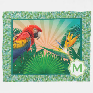 Tropical Parrot Photography Print Fleece Blanket