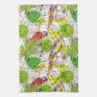 Tropical Parrots Tea Towel