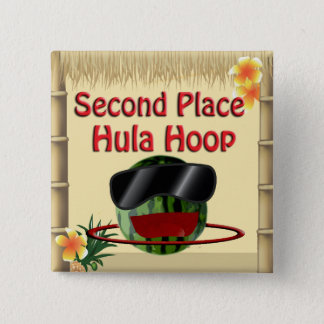 Tropical Party Tiki Hut 2nd Place Hula Hoop 15 Cm Square Badge