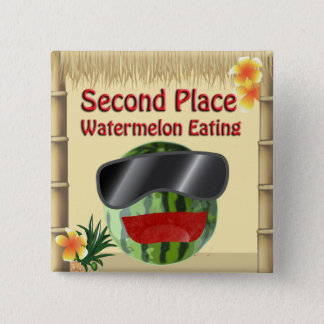 Tropical Party Tiki Hut 2nd Place Watermelon Eat 15 Cm Square Badge