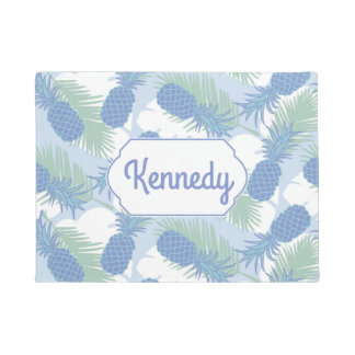 Tropical Pastel Pineapple Pattern | Add Your Name Doormat