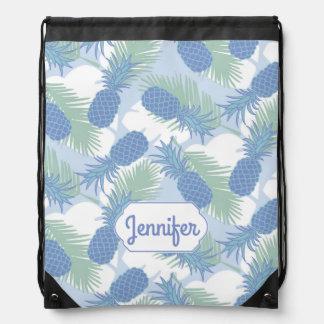 Tropical Pastel Pineapple Pattern | Add Your Name Drawstring Bag