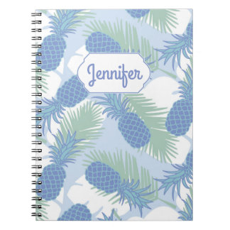 Tropical Pastel Pineapple Pattern | Add Your Name Notebook