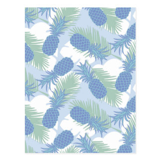 Tropical Pastel Pineapple Pattern Postcard