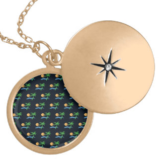 tropical pattern black background round locket necklace
