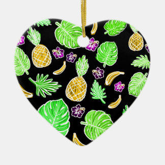 Tropical pattern ceramic heart decoration