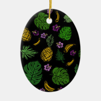 Tropical pattern ceramic oval decoration