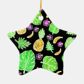 Tropical pattern ceramic star decoration
