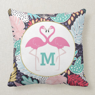 Tropical Pattern Flamingos Monogram Cushion