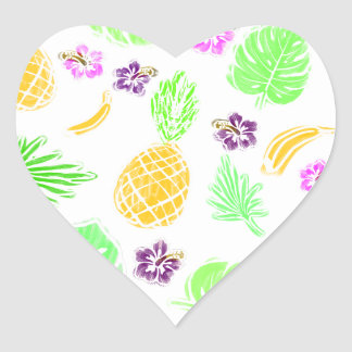 Tropical pattern heart sticker