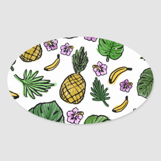Tropical pattern oval sticker