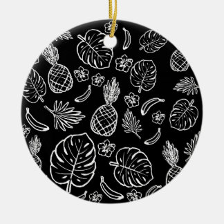 Tropical pattern round ceramic decoration