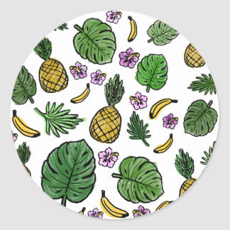 Tropical pattern round sticker
