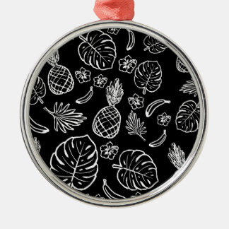 Tropical pattern Silver-Colored round decoration