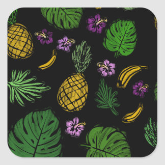 Tropical pattern square sticker