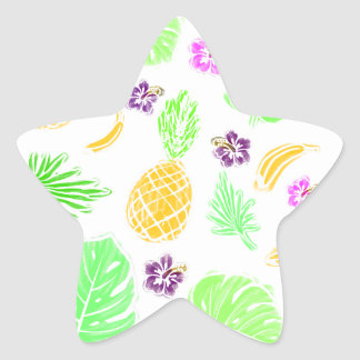 Tropical pattern star sticker