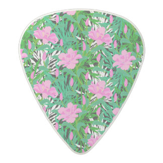 Tropical Pattern With Jungle Flowers Acetal Guitar Pick