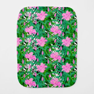 Tropical Pattern With Jungle Flowers Baby Burp Cloth