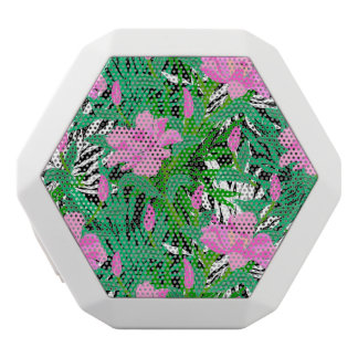 Tropical Pattern With Jungle Flowers White Boombot Rex Bluetooth Speaker