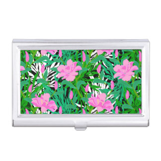 Tropical Pattern With Jungle Flowers Business Card Holder