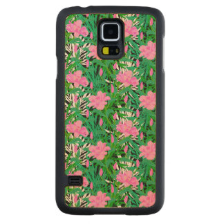 Tropical Pattern With Jungle Flowers Carved Maple Galaxy S5 Case