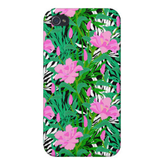 Tropical Pattern With Jungle Flowers Case For The iPhone 4