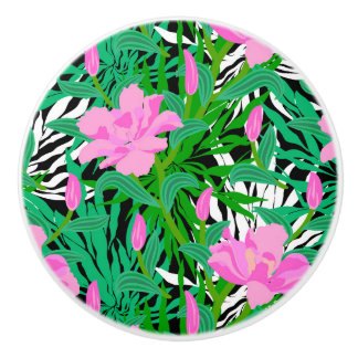 Tropical Pattern With Jungle Flowers Ceramic Knob
