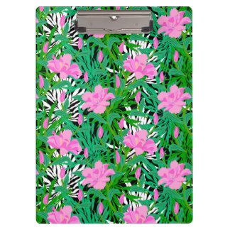 Tropical Pattern With Jungle Flowers Clipboard