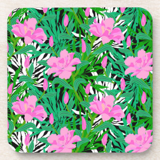 Tropical Pattern With Jungle Flowers Coaster