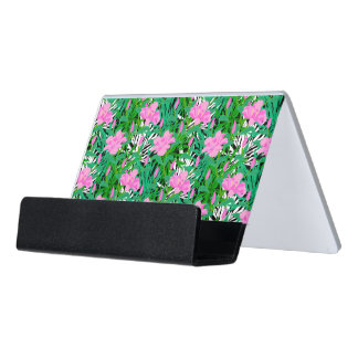 Tropical Pattern With Jungle Flowers Desk Business Card Holder
