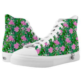 Tropical Pattern With Jungle Flowers High Tops