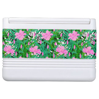 Tropical Pattern With Jungle Flowers Igloo Cooler