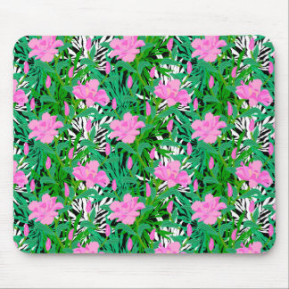 Tropical Pattern With Jungle Flowers Mouse Mat