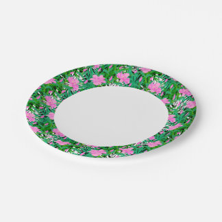 Tropical Pattern With Jungle Flowers Paper Plate