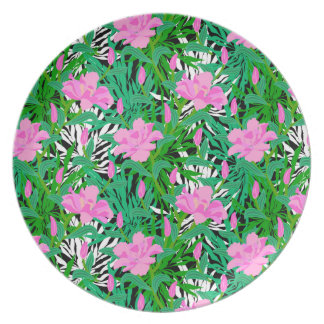 Tropical Pattern With Jungle Flowers Plate